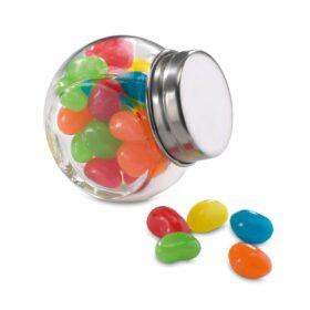 Glazen pot gevuld met snoepjes