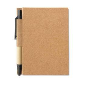 Notitieblok en gerecyclede pen