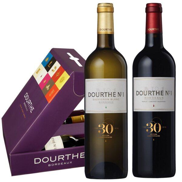 Dourthe N° 1 geschenkbox Sauvignon Blanc en Rouge
